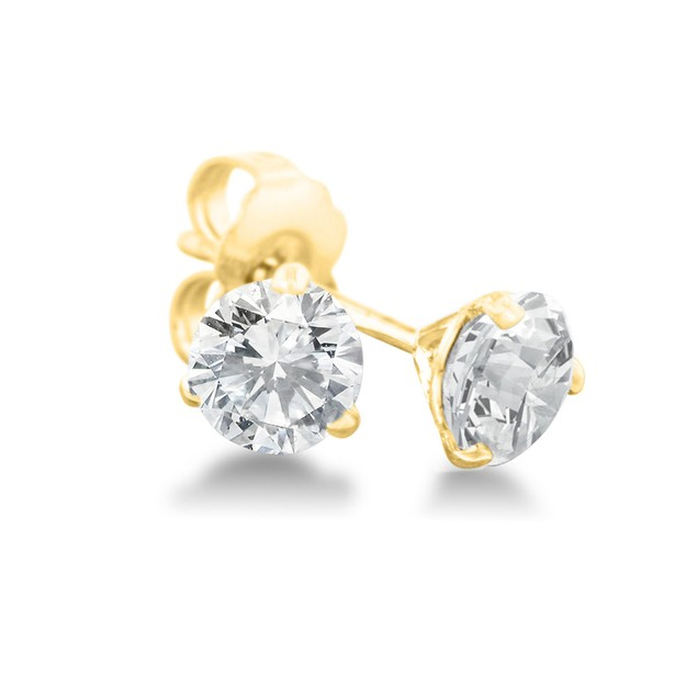 1/2ct Natural Genuine Diamond Stud Earrings In Martini Settling, 14 Karat Yellow Gold