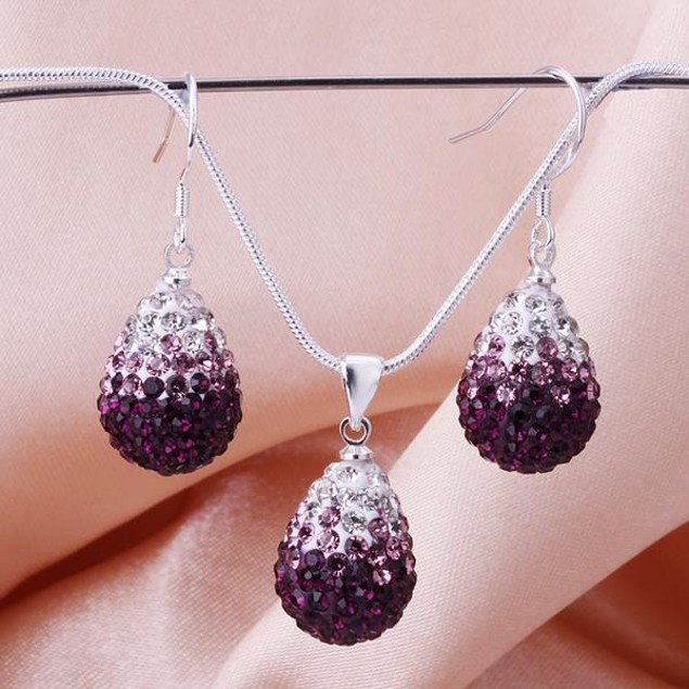 Austrian Stone Multi-Pave Earring and Necklace Set - Purple Fusion