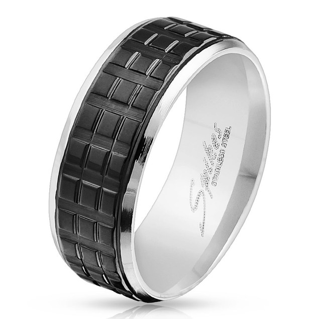 Square Grooved Black IP Center with Beveled Edge Stainless Steel Ring