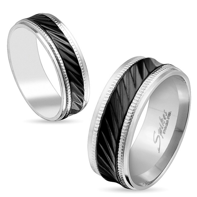 Milled Step Edge Black IP Center Stainless Steel Ring