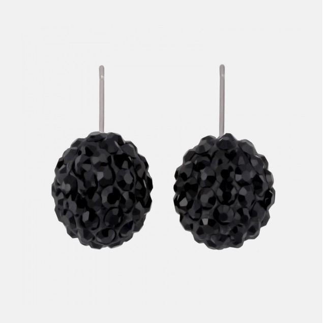 Swarovski Elements Crystal Ball Earrings - Black