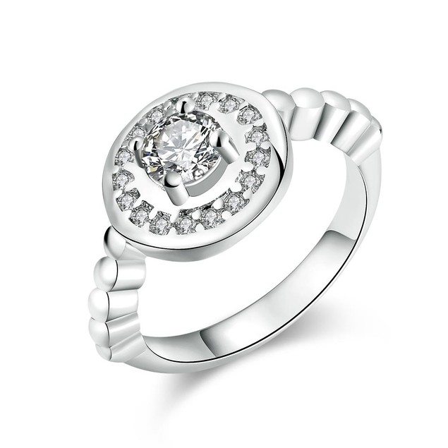 White Gold Plated Circular Abstract Crystal Ring