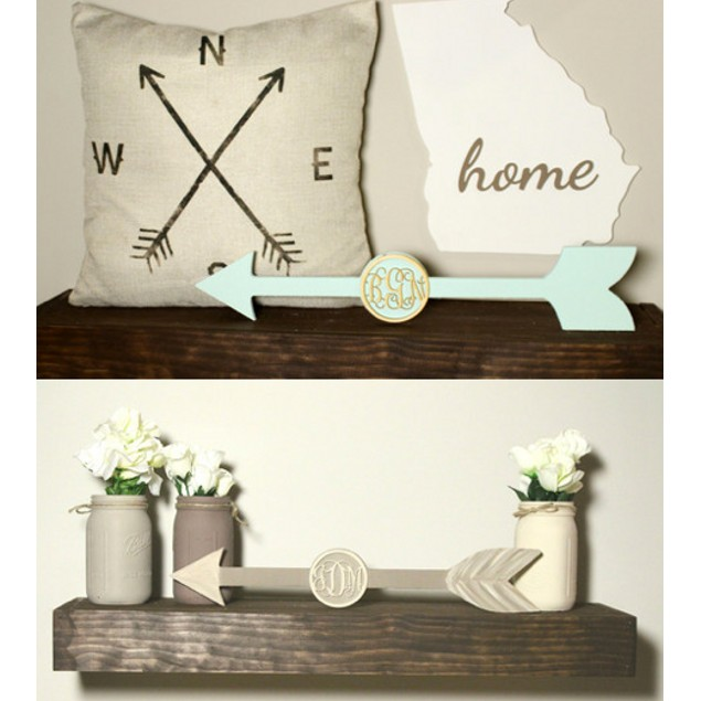 Unfinished Monogrammed Wood Arrow - 3 Styles