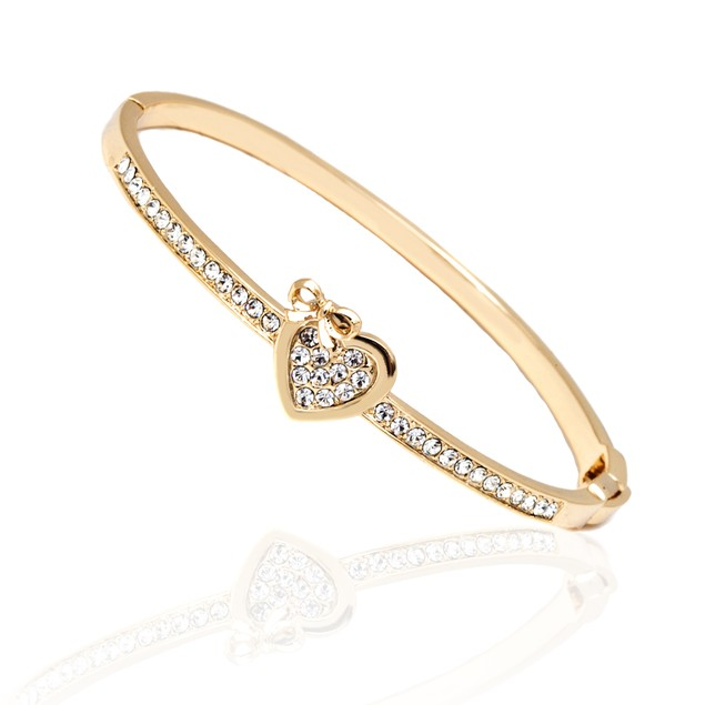 Gold & Crystal Heart Bow Bangle
