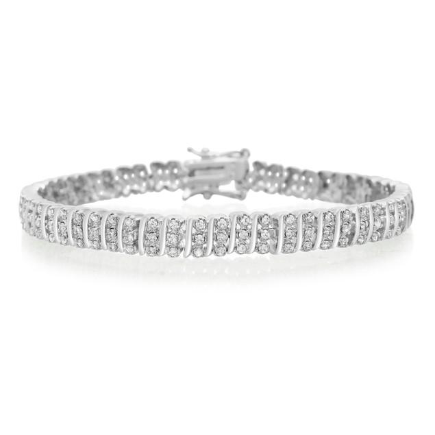Three Row Diamond Bracelet 0.98cttw