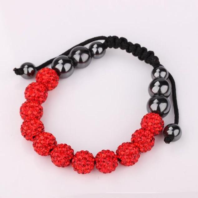 Disco Ball Eleven Beads Austrian Crystal Bracelet - Vibrant Ruby