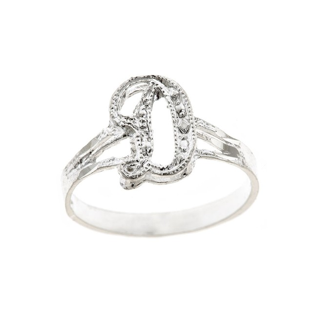 "Sterling Silver Script Initial Ring - ""D"""