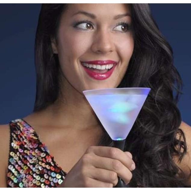 4 Pack: Led Martini Glasses With Black Stem