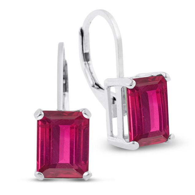 Sterling Silver 4 1/2 Carat Created Ruby Leverback Earrings