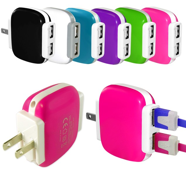 2 Pack: 2.1A Dual Port USB Wall Charger