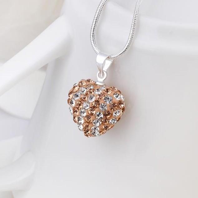 Multi-Toned Austrian Stone Heart Shaped Necklace - Vivid Royal Champagne