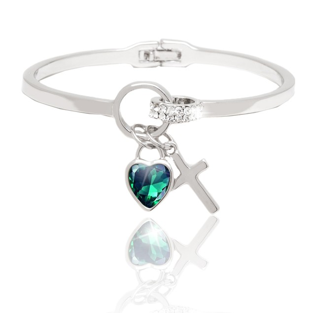 Silver and Green Crystal Heart and Cross Charm Cuff