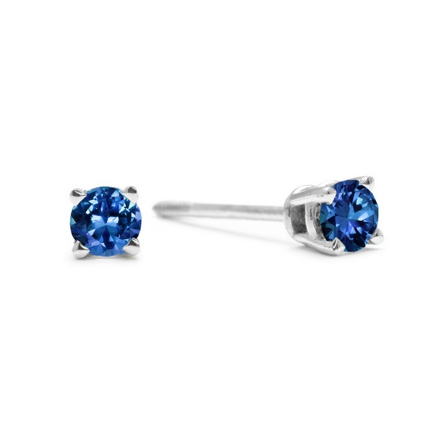 Blue Diamond Stud Earrings 1/4cttw