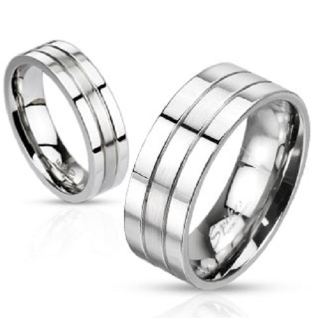 2 Grooved/Brushed Center Stainless Steel Ring