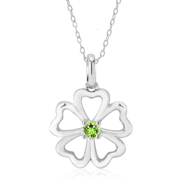 Sterling Silver Simulated Diamond Birthstone Necklace - Clover