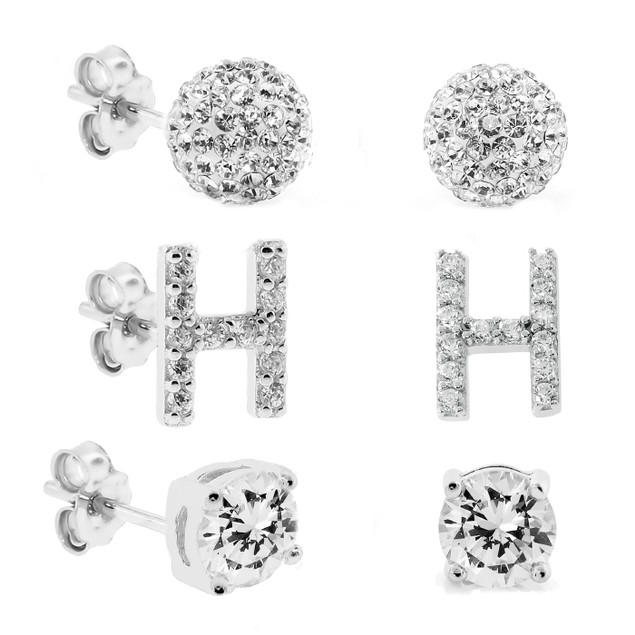 3-Piece Set: Initial Stud Earrings with Swarovski Elements - H