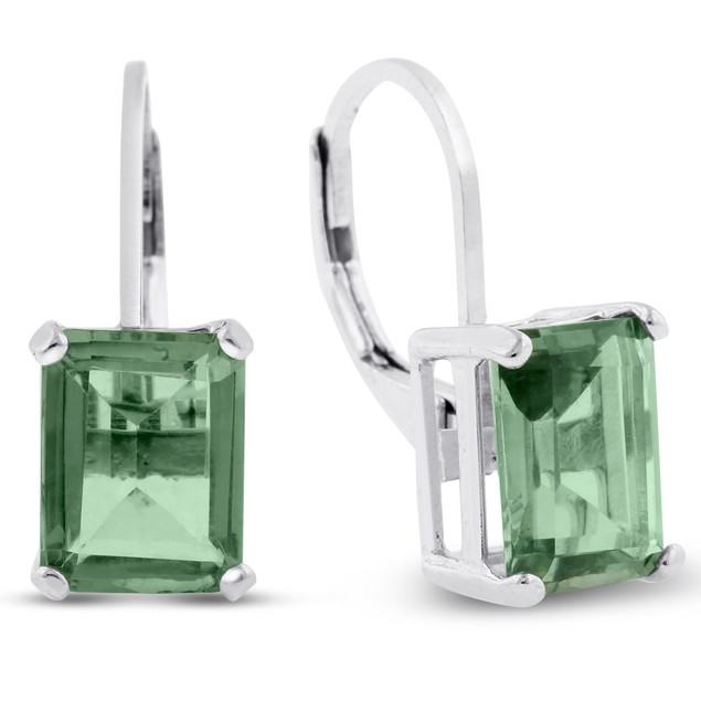 4 1/2 Carat Emerald Shape Green Amethyst Leverback Earrings In Sterling Silver