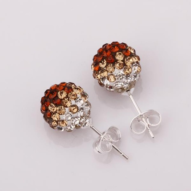Two Toned Austrian Stone Stud Earrings - Dark Citrine