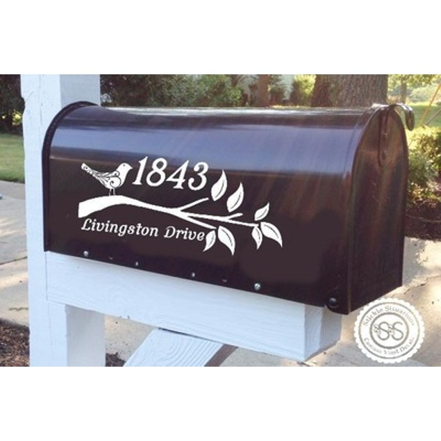 Flourish Bird Vinyl Mailbox Decal