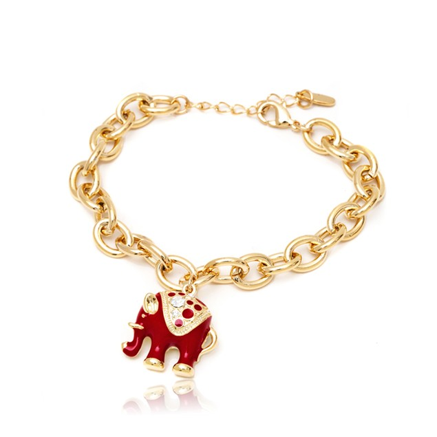 Red Elephant Gold Plated Bracelet