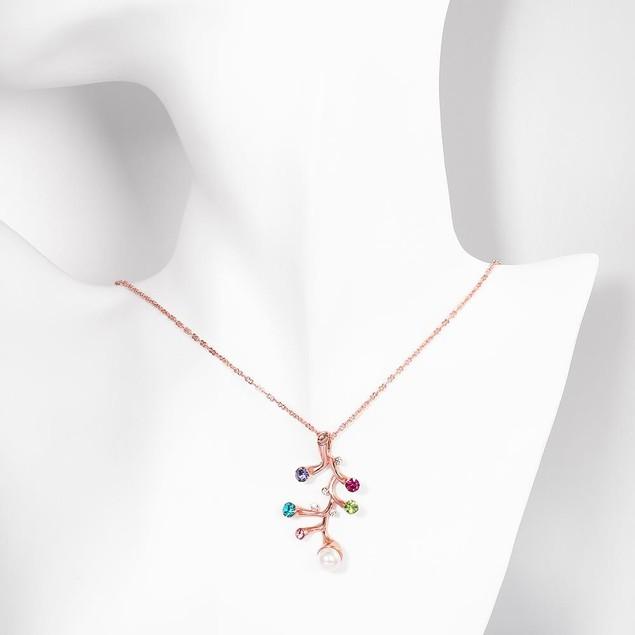 Rose Gold Plated Multi-Gem Branch Necklace