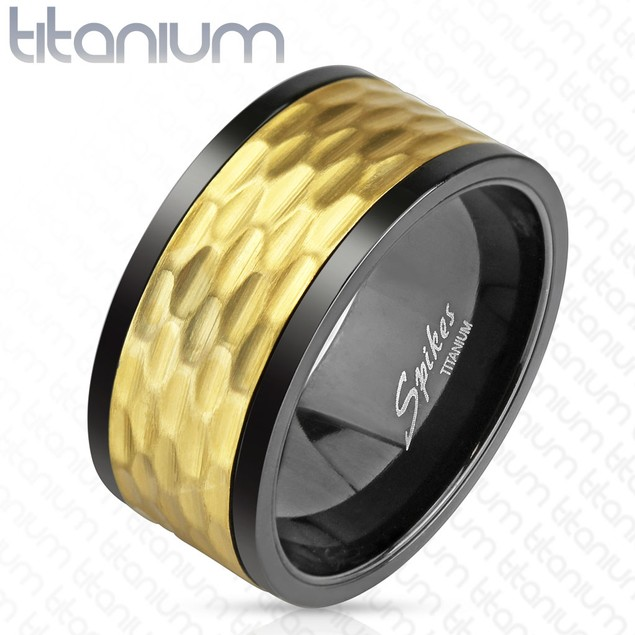 Black and Gold IP Hammered Solid Titanium Spinner Ring