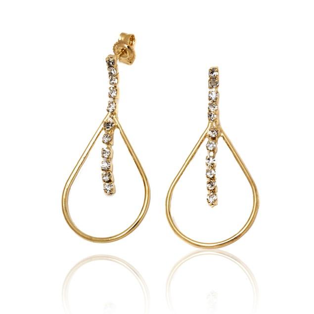 Gold & Cubic Zirconia Open Teardrop Earrings