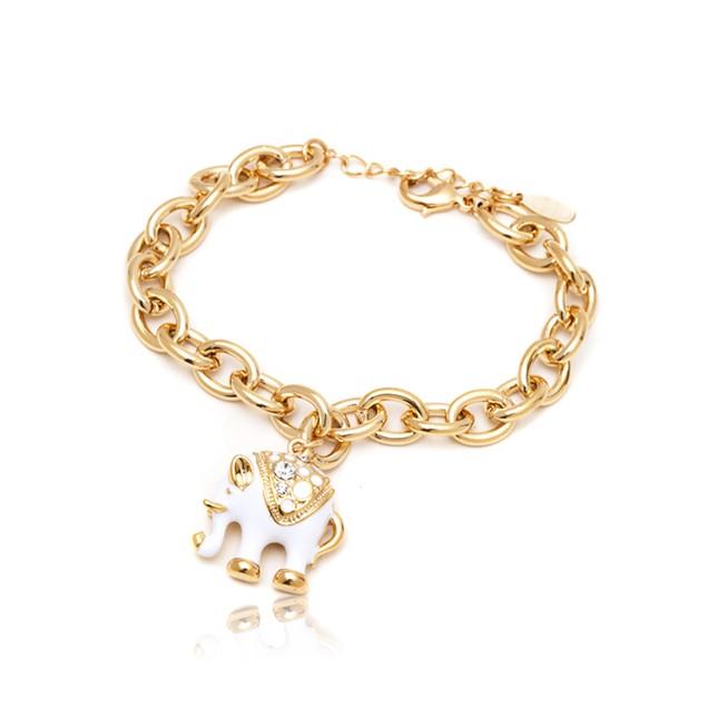 White Elephant Gold Plated Bracelet