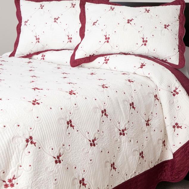 Lavish Home Chloe 3 Pc Embroidered Quilt Set