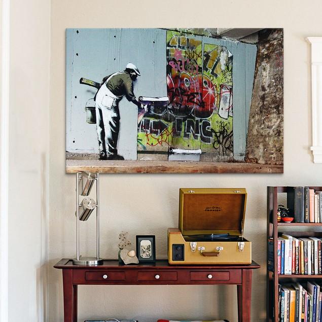 Graffiti Wallpaper Hanging Canvas Print