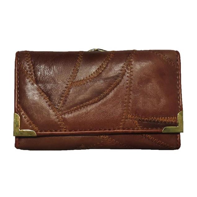 AFONiE Zigzag Stitch Women Leather Wallet