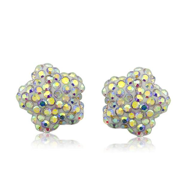 Sterling Silver Sparkling Crystal 10mm Stud Earrings - Flower Rainbow