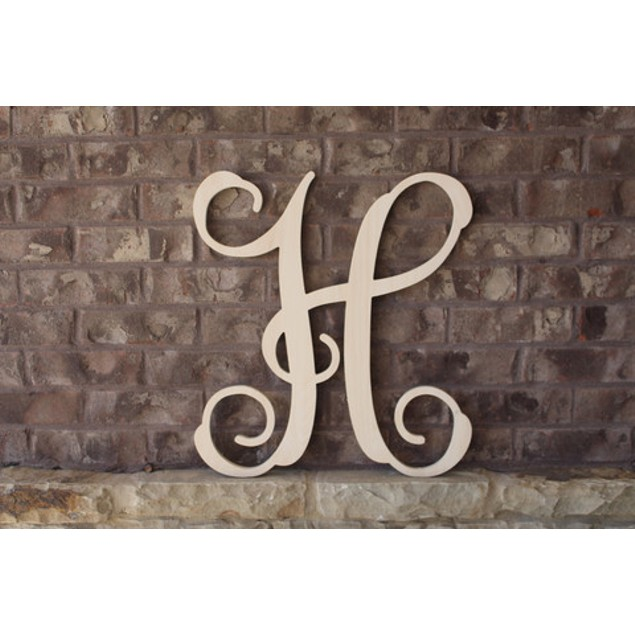"""15"""" Unfinished Wood Vine Initial Letter"""