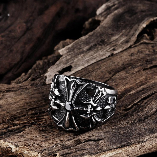 Stainless Steel Cross Emblem Ring
