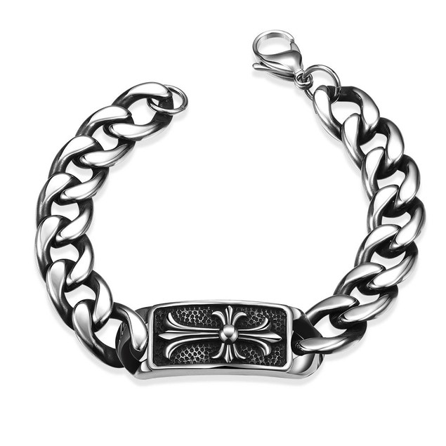Abstract Emblem Stainless Steel Bracelet