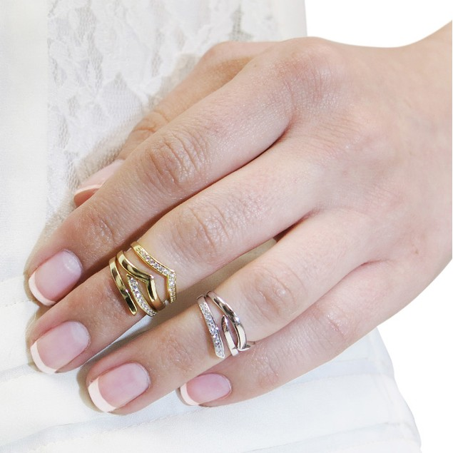 Gold over Sterling Silver Chevron Midi Rings