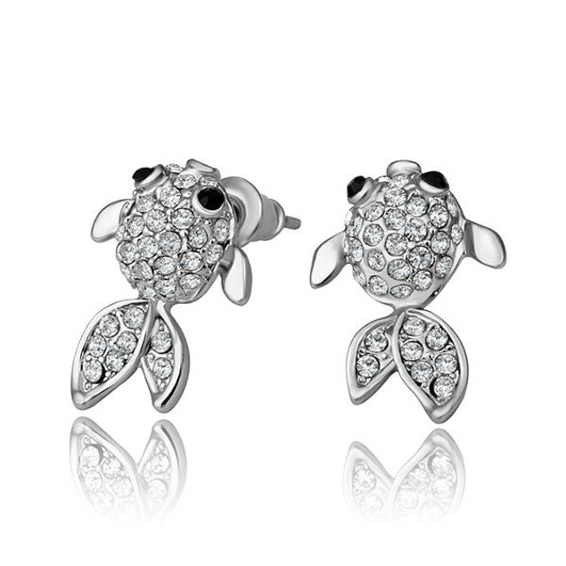 White Gold Plated Gold Plated Fish Stud Earrings