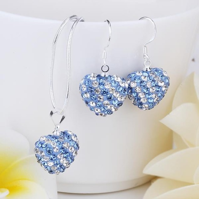 Multi-Pave Heart Drop Earring and Necklace Set - Baby Blue Crystal
