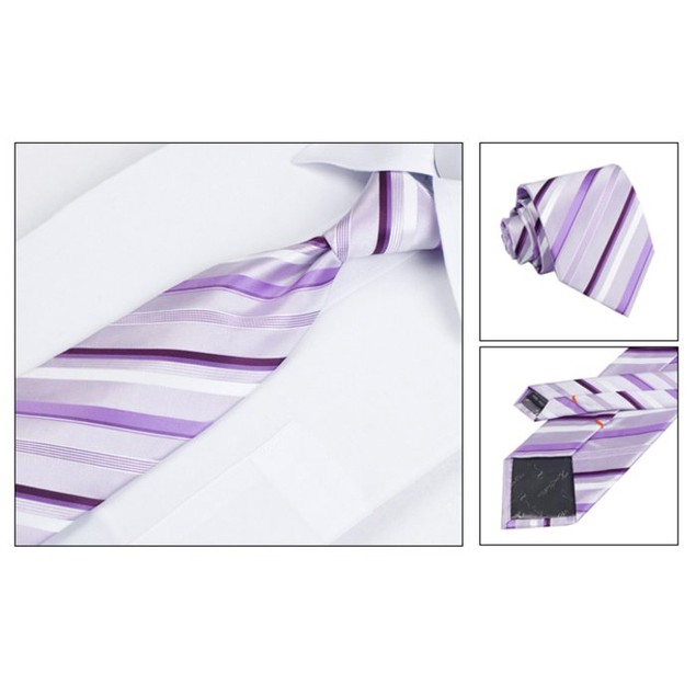Men's Dress Suit Tie Set - Purple Stripe