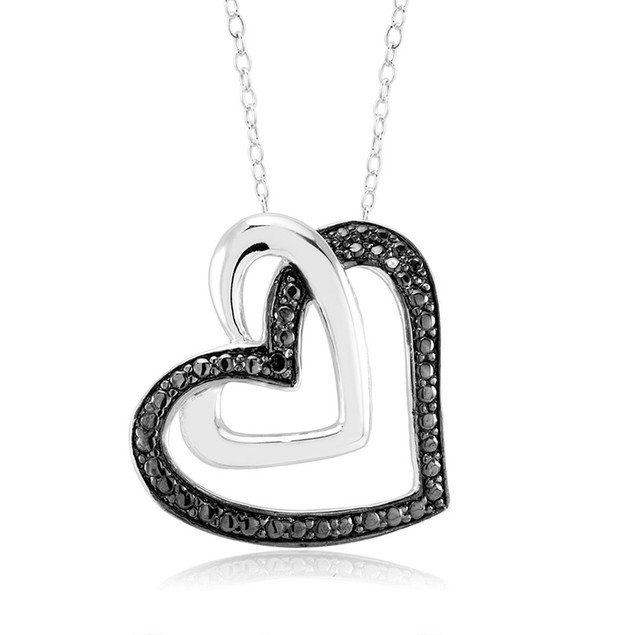 1/10 CTW Diamond Necklace - Black / White Heart