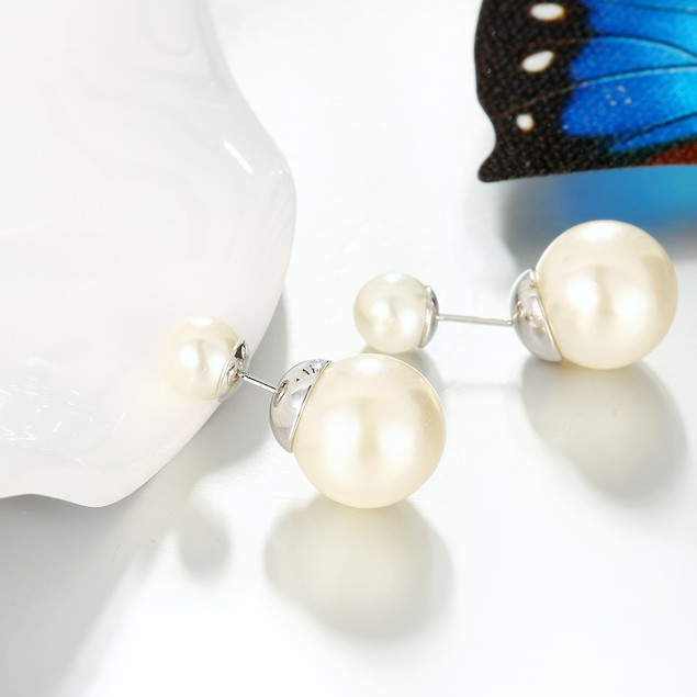 Reversible/Double Sided Imitation Pearl Stud Earrings - 4 Color Combos