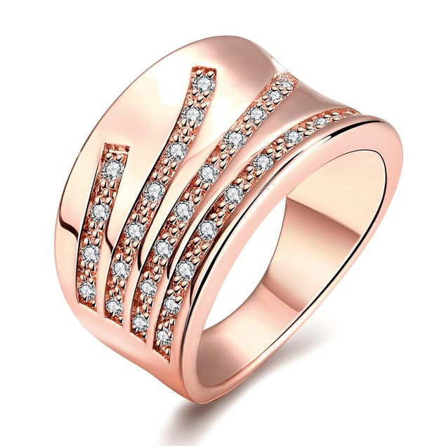 Rose Gold Plated Five Jewels Line Ring
