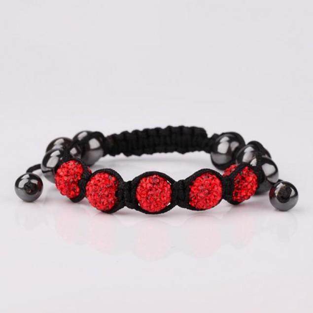 80's Glam Five Beads Austrian Crystal Bracelet -Ruby