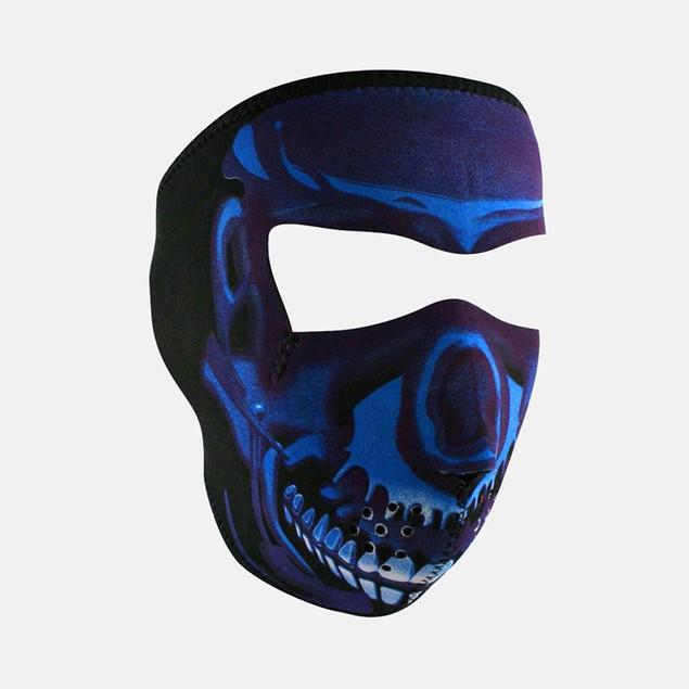 Blue Chrome Skull Graphical Neoprene Full Face Mask