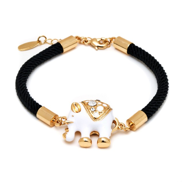 18K Gold Plated White Elephant Enamel Black Fabric Bracelet