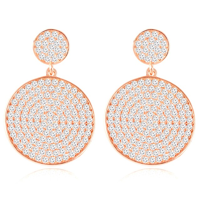 18K Rose Gold Over Sterling Silver Micro Pave Circle Drop Earrings