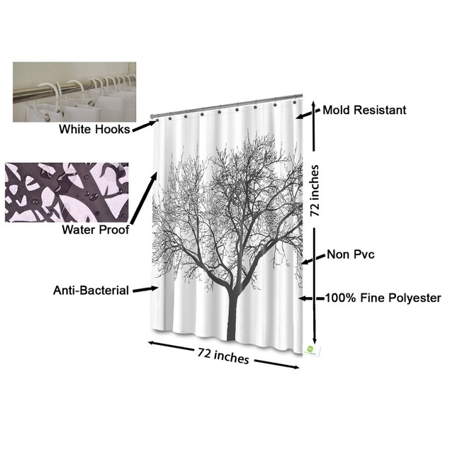 Shower Curtain with Tree Design 100% Waterproof & Eco-Friendly Large Size