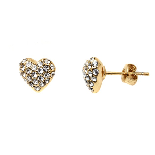 Gold & Crystal Heart Stud Earrings