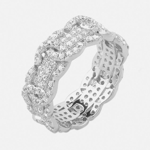 2 Ct Sterling Silver Pave Ring - Crown
