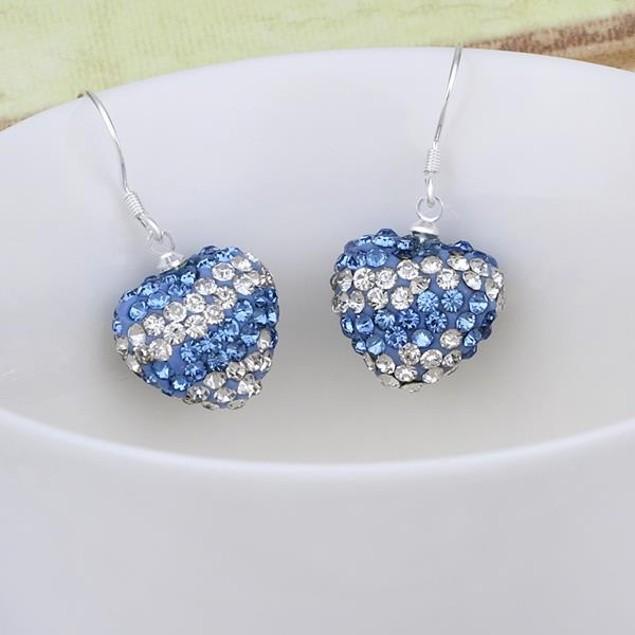 Austrian Stone Pave Heart Drop Earrings - Royal Blue